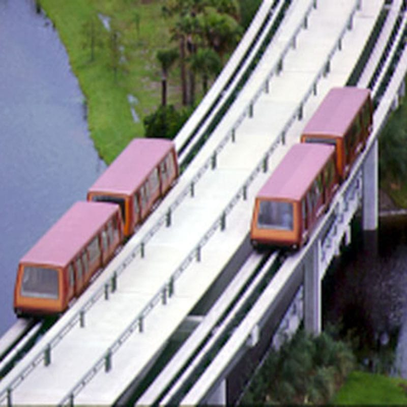 Closeup of the original monorail system.