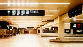 Baggage claim area in main building.