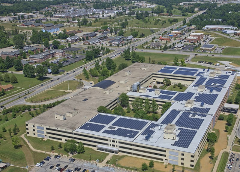 Aerial view of photovoltaic roof shows the sheer size of 6,000 panels.