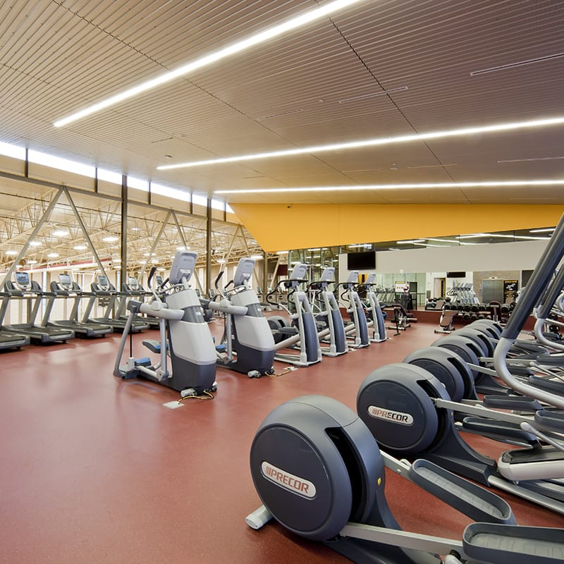 Interior Fitness room with cardiovascular machines