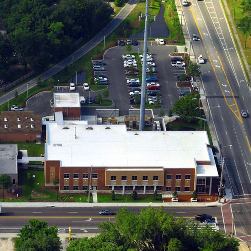 Aerial shot of the Gainesville Police Headquarters complex
