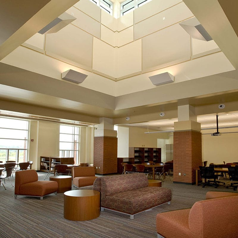 Interior shot of natural lighting featured in media center.