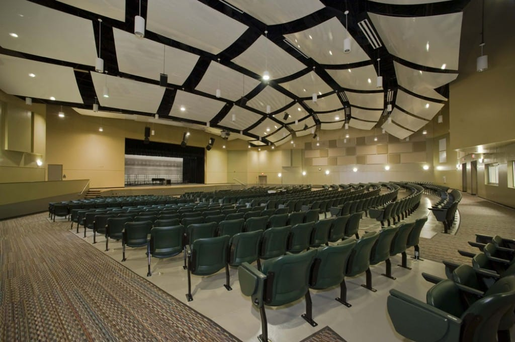 Interior view of performing arts auditorium.