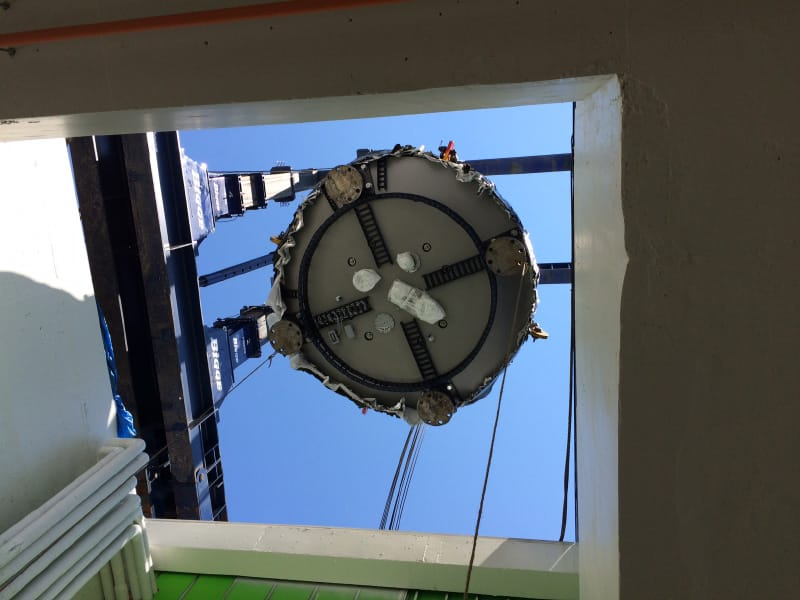 Installation of 220-ton Cyclotron Particle Accelerator