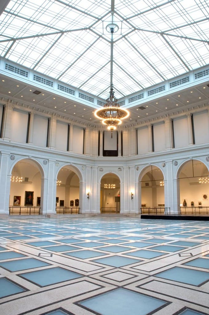 Light shines through Beaux-Arts floor down through the Great Hall at the Brooklyn Museum.