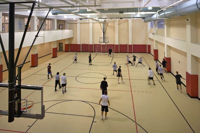 One of three basketball courts in the facility