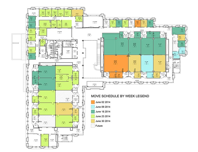 Gilbane used color coded floor maps to designate which rooms moved during each phase