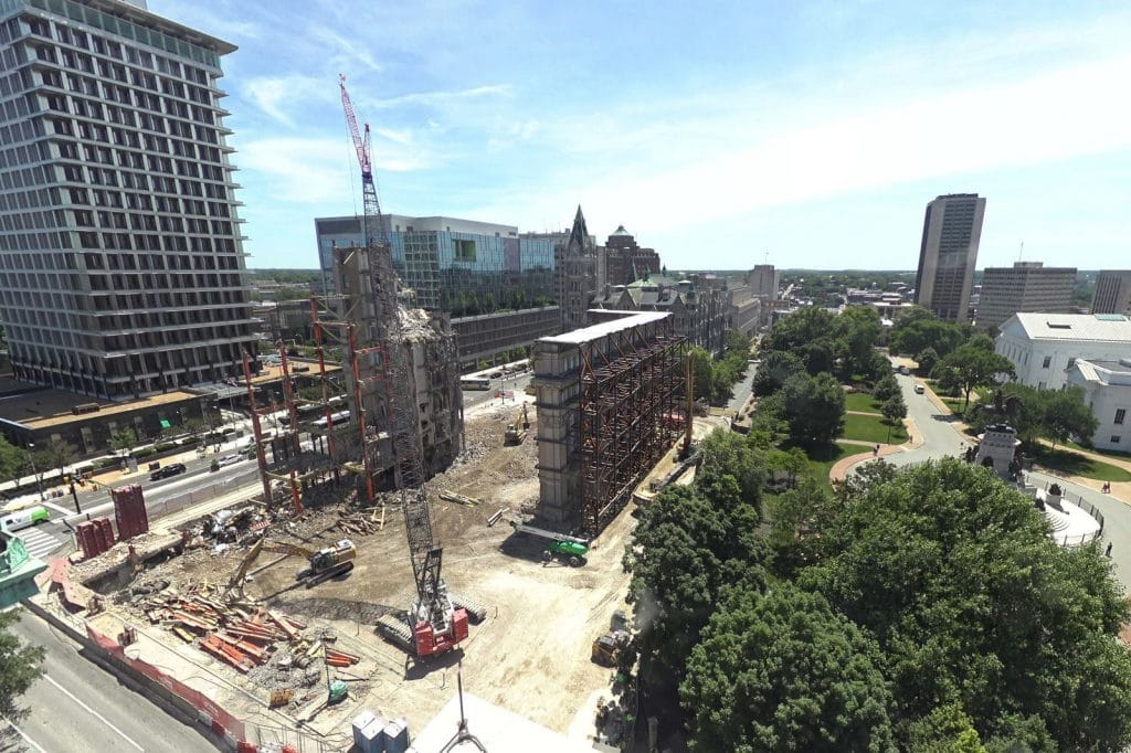Aerial view of demolition of Virginia General Assembly Building