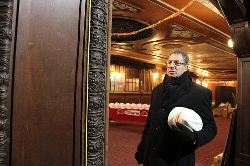 Gilbane's construction leader prepares for a tour of the Kings Theatre construction project.