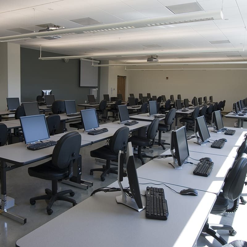 The building includes multi-disciplinary lab and classroom spaces.