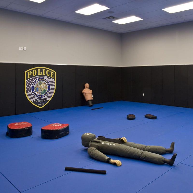 Interior view of the training mat for police officers
