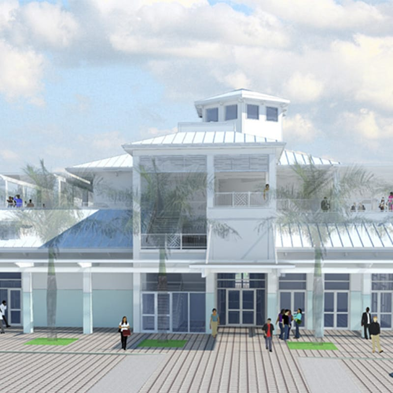 Elevation rendering of Marina Events Center front entrance